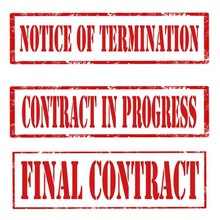termination: Set of grunge rubber stamps with text Notice Of Termination,Contract In Progress and Final Contract,vector illustration