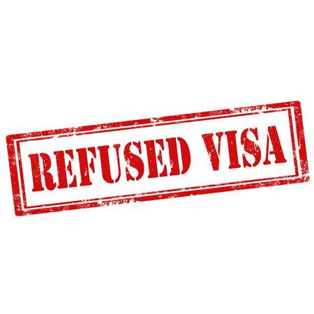 refused: Grunge sello de goma con el texto Refused Visa, ilustraci�n vectorial