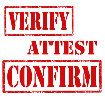 verify: Set di timbri in gomma grunge con il testo Verifica, Attest e Conferma, illustrazione vettoriale Vettoriali