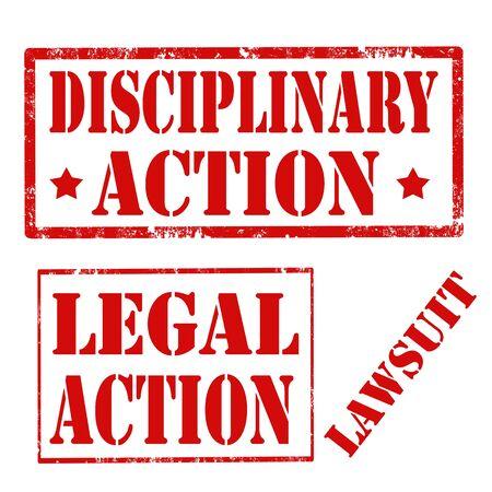 действие: Гранж резиновые штампы с текстом дисциплинарного взыскания, иск и судебный иск, векторные иллюстрации Иллюстрация