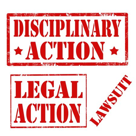 lawsuit: Grunge rubber stamps with text Disciplinary Action,Lawsuit and Legal Action,vector illustration