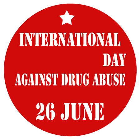drug abuse: Red label with text International day Against Drug Abuse,vector illustration