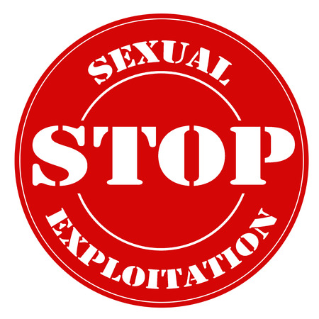 maltrato infantil: Sello rojo con el texto Detener la Explotaci�n Sexual, ilustraci�n vectorial