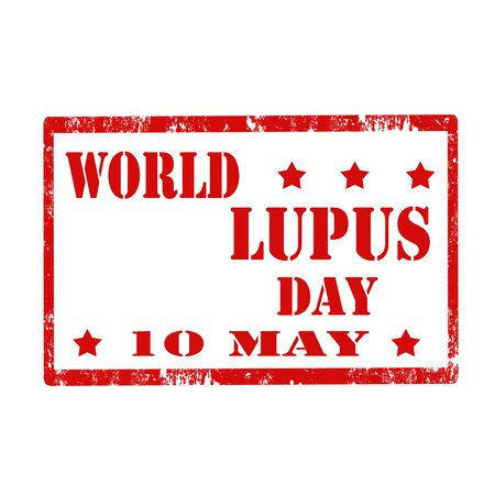 lupus: Grunge rubber stamp with text World Lupus Day,vector illustration