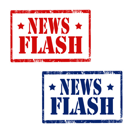 news flash: Set of grunge rubber stamps with text News Flash,vector illustration Illustration