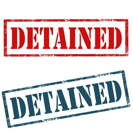 detained: Conjunto de sellos de goma del grunge con el texto Detenidos, ilustraci�n vectorial