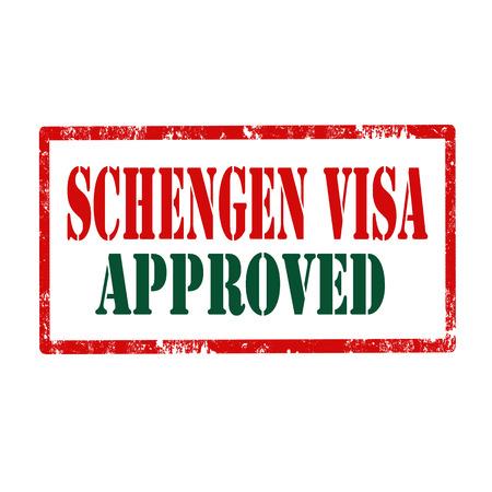 europa: Grunge rubber stamp with text Schengen Visa,vector illustration