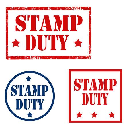 devoir: Lot de timbres avec le texte Stamp Duty, illustration vectorielle