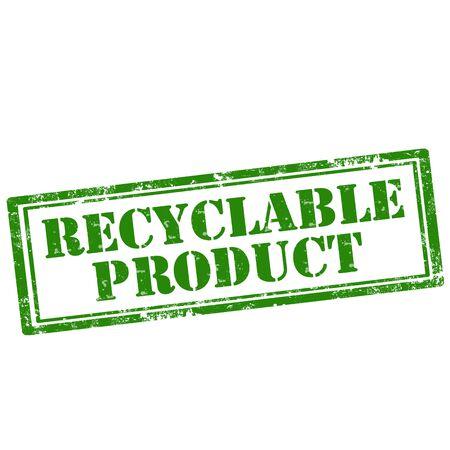 reciclable: Grunge sello de goma con el texto Reciclable Producto, ilustraci�n vectorial Vectores