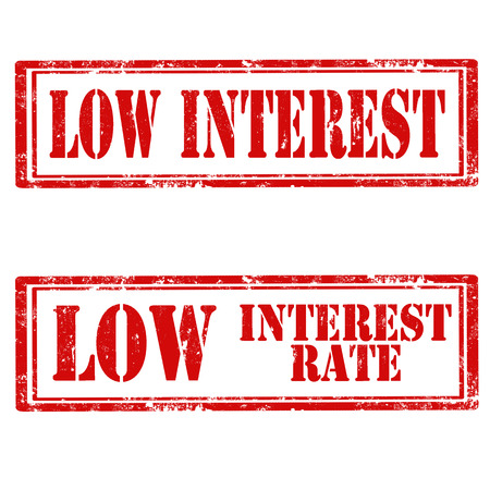 interest rate: Set of grunge rubber stamps with text Low Interest and Low Interest Rate,vector illustration Illustration