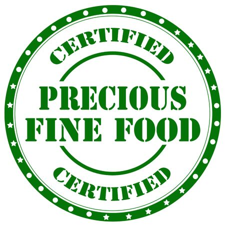 precious: Green rubber stamp with text Precious Fine Food,vector illustration