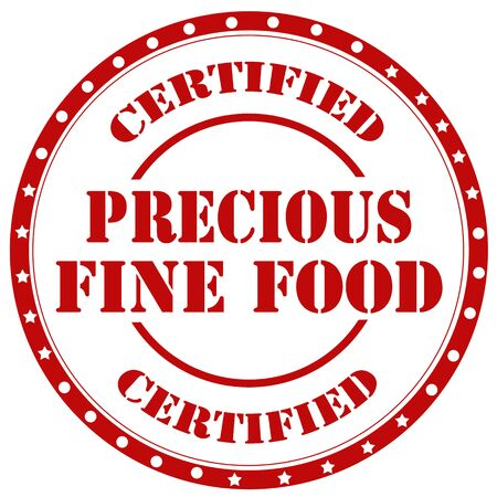 precious: Red rubber stamp with text Precious Fine Food,vector illustration Illustration