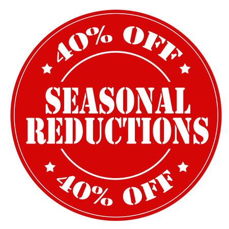 reductions: Red rubber stamp with text Seasonal Reductions,vector illustration