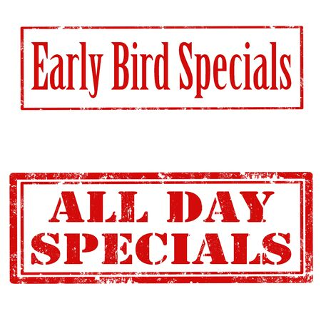 Set of grunge rubber stamps with text Early Bird Specials and All Day Specials,vector illustration