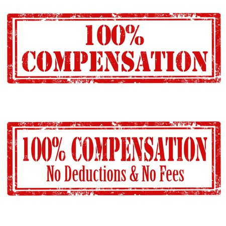 deductions: Set of grunge rubber stamp with text 100% Compensation,vector illustration