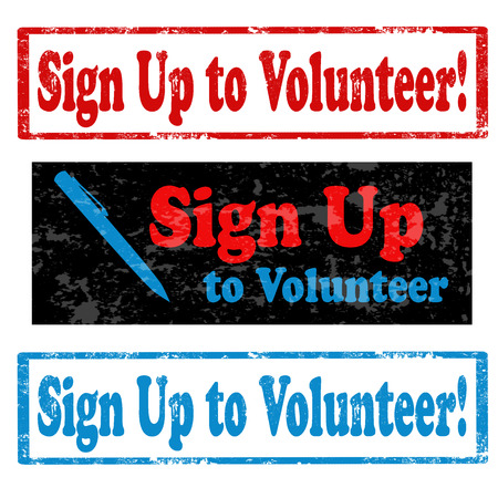 Set van grunge stempels met de tekst Aanmelden als vrijwilliger, vector illustratie Stock Illustratie