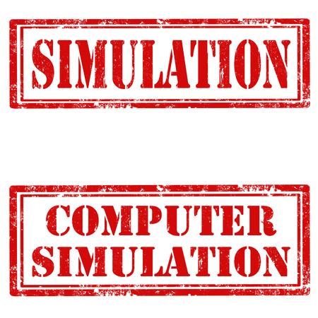 시뮬레이션: Set of grunge rubber stamps with text Simulation and Computer Simulation,vector illustration