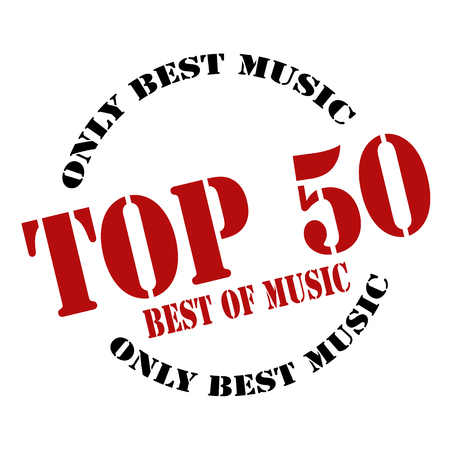 Rubber stamp with text Top 50-Best Music,vector illustration