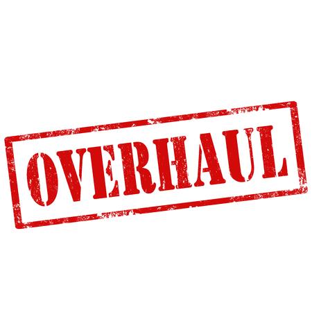overhaul: Grunge timbro di gomma con il testo Revisione, illustrazione vettoriale
