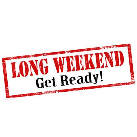 long weekend: Grunge timbro di gomma con il testo Long Weekend, illustrazione