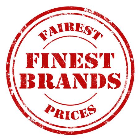 finest: Grunge rubber stamp with text Finest Brands Illustration