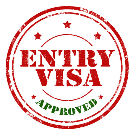 authorization: Grunge rubber stamp with text Entry Visa-Approved