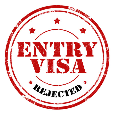 Grunge rubber stamp with text Entry Visa-Rejected