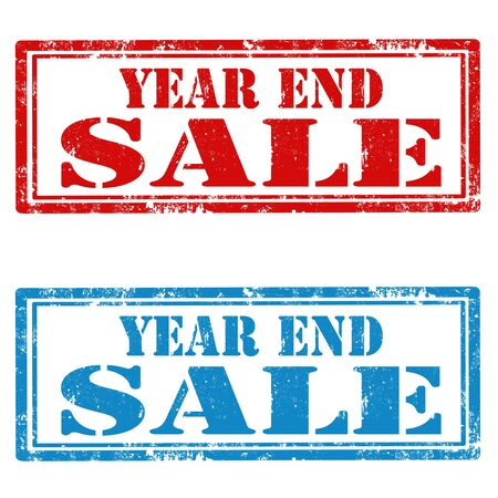 end of year: Set of grunge rubber stamps with text Year End Sale,vector illustration