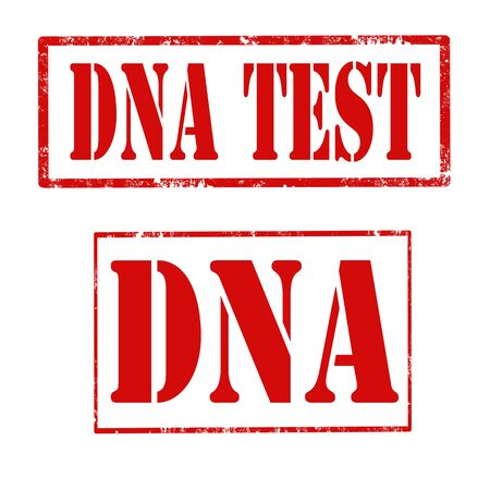 genetic material: Set of grunge rubber stamps with text DNA Test and DNA,vector illustration