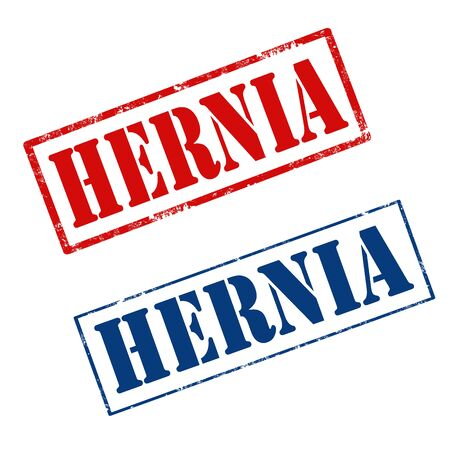 hernia: Set of grunge rubber stamps with text Hernia,vector illustration