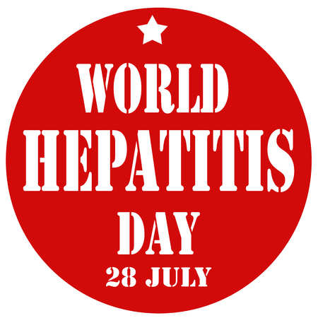contagious: Red stamp with text World Hepatitis Day,vector illustration Illustration