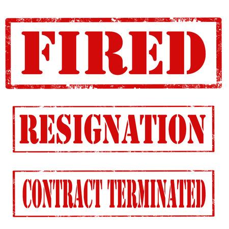 renuncia: Conjunto de sellos con texto Despedido, Renuncia y la rescisi�n del contrato, vector illustratioon