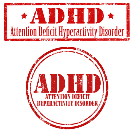 deficit: Set of grunge rubber stamp with text ADHD-Attention Deficit Hyperactivity Disorder,vector illustration