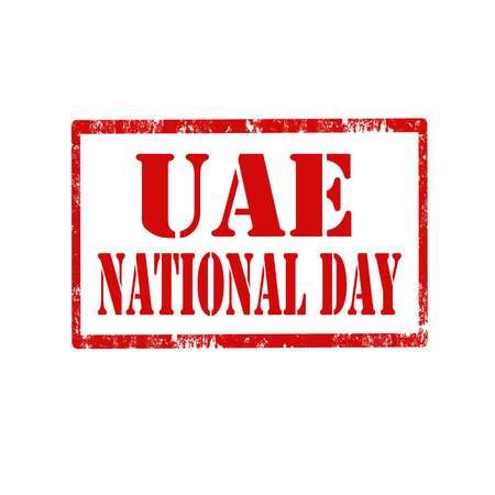 uae: Red stamp with text UAE National Day,vector illustration