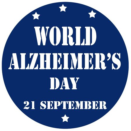 alzheimer's: Blue stamp with text World Alzheimers Day,vector illustration