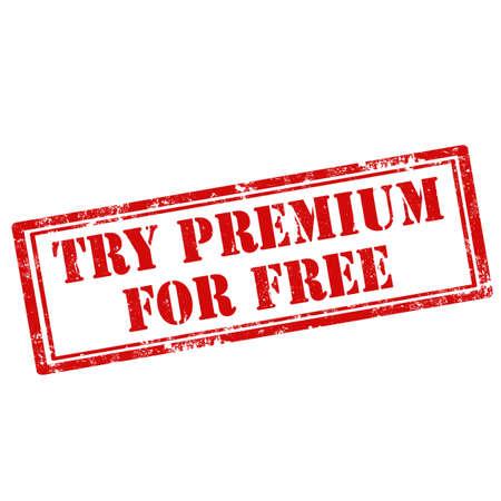 essayer: Grunge timbre en caoutchouc avec le texte Essayer Premium Pour gratuit, illustration vectorielle