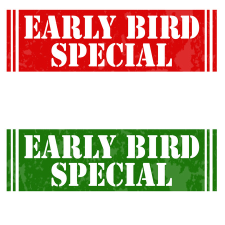 early: Set of stamps with text Early Bird Special,vector illustration