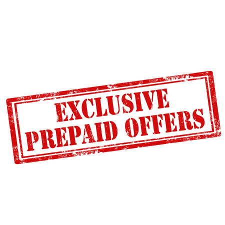 prepaid: Grunge rubber stamp with text Exclusive Prepaid Offers Illustration
