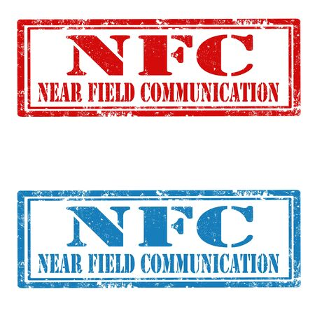 conection: Set of grunge rubber stamps with text NFC-Near Field Communication Vectores