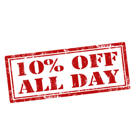 all day: Grunge rubber stamp with text 10% Off All Day,vector illustration