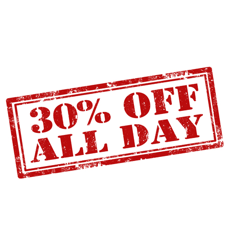 all day: Grunge rubber stamp with text 30% Off All Day,vector illustration Illustration