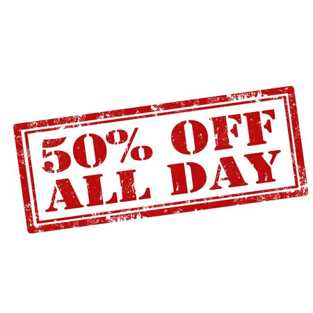 the day off: Grunge rubber stamp with text 50% Off All Day,vector illustration