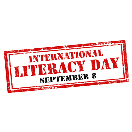 literate: Grunge rubber stamp with text International Literacy Day