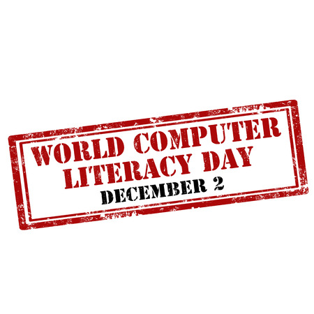 disadvantaged: Grunge rubber stamp with text World Computer Literacy Day