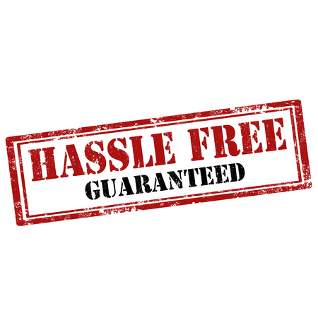 hassle: Grunge rubber stamp with text Hassle Free-Guaranteed,vector illustration