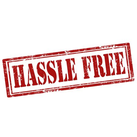 hassle: Grunge rubber stamp with text Hassle Free,vector illustration