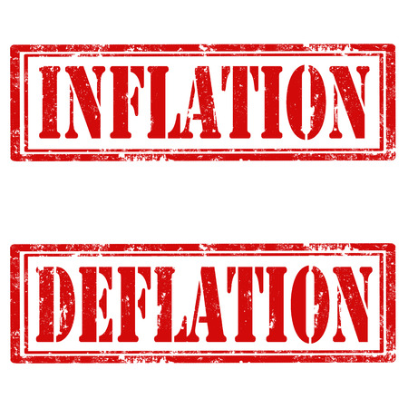 inflation: Set of grunge rubber stamps with text Inflation and Deflation,vector illustration