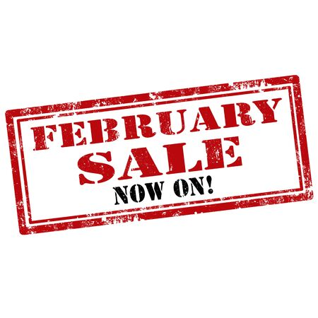 feb: Grunge rubber stamp with text February Sale-Now On,vector illustration