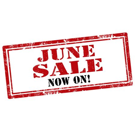 june: Grunge rubber stamp with text June Sale-Now On,vector illustration