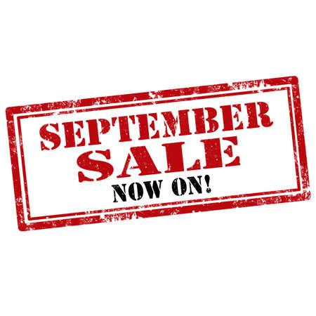 september: Grunge rubber stamp with text September Sale-Now On,vector illustration
